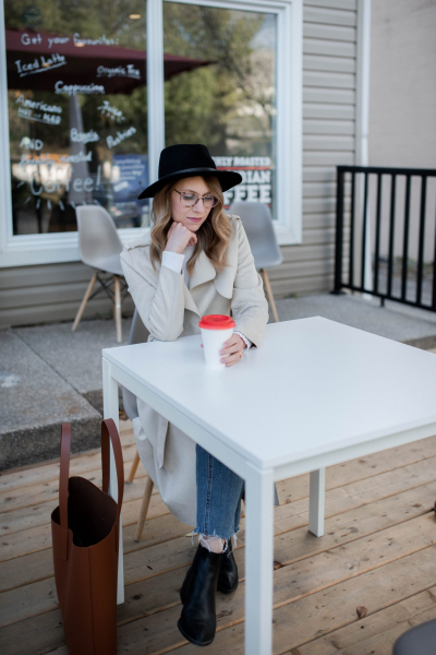 girl sitting at cafe with coffee
